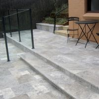 Silver Travertine Steps and Pavers.
